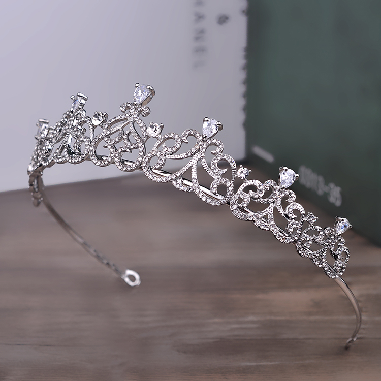 Rhinestone Crown Hairband Vintage Crystal Bridal Tiara Wedding Accessory Women Party Pageant Flower Jewelry