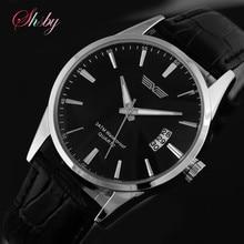 Shsby Venta CALIENTE de Cuarzo Relojes de Los Hombres de Negocios, Relojes Militares de Los Hombres, Correa de Cuero de Los Hombres Relojes Deportivos