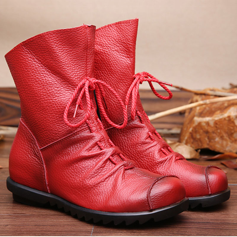 2017 Women Shoes Female Genuine Leather Women Boots Handmade Ankle Boots Lace-Up Fashion front lace up casual ankle boots autumn vintage brown new booties flat genuine leather suede shoes round toe fall female fashion