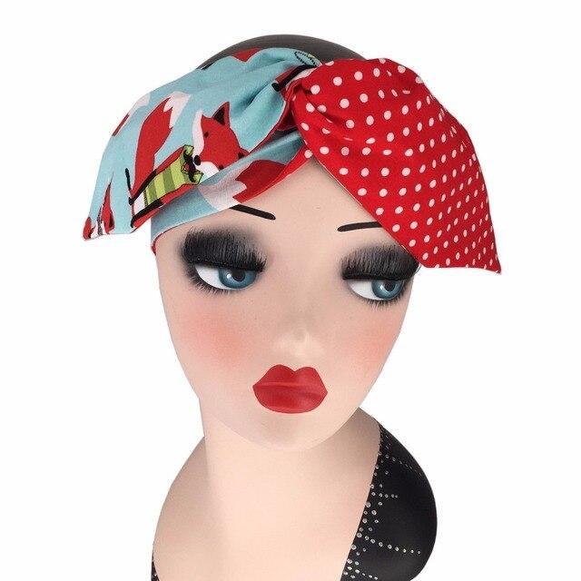 14868b5c067f women vintage 50s red fox polka dot patchwork bow headband rockabilly pinup  bandans hair scarf wire