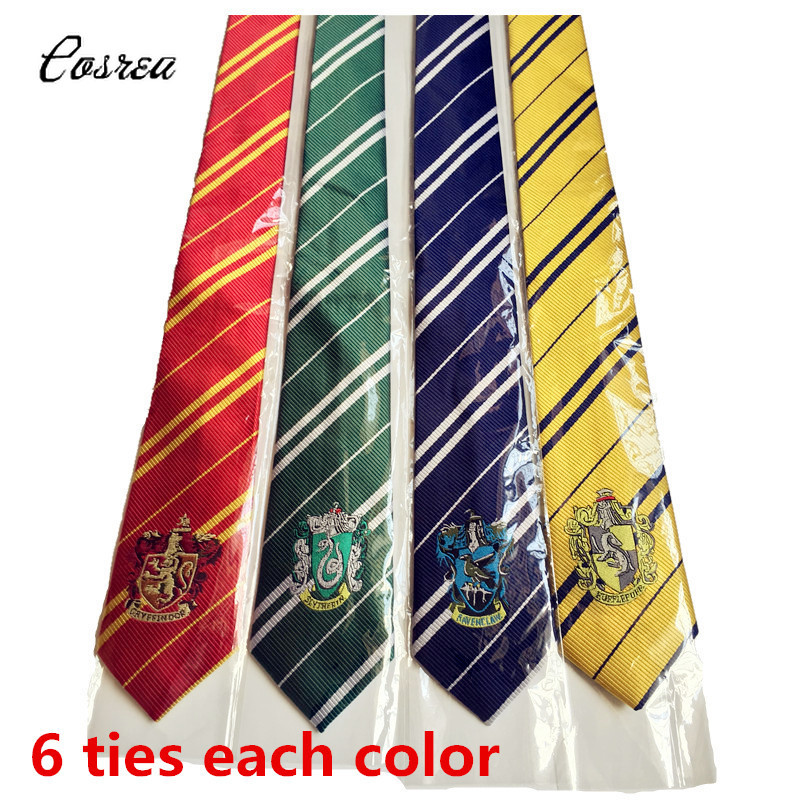 Wholesale 6 Ties Each Color Hogwarts Tie Gryffindor Slytherin Hufflepuff Ravenclaw Halloween Stage Magical Cosplay