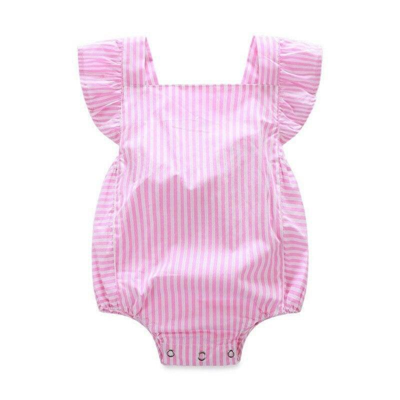 Moda Rosa Princesa Roupas de Bebê Menina Bodysuit Macacão Bonito Outfits Sunsuit 0-18M