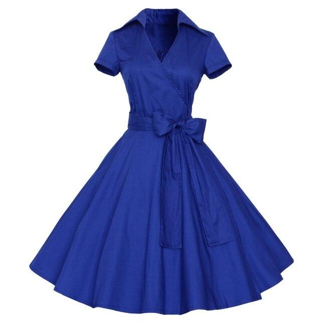 Летние Женщины 1950 s Ретро Одри Хепберн Стиль V-образным Вырезом Свинг Нагрудные Рубашки Рокабилли Pinup Dress lm75