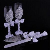 1 пара Свадебные душ подарок Свадебные Кружева бокалов шампанского набор кружева свадебные вина чашки + кружево торт нож