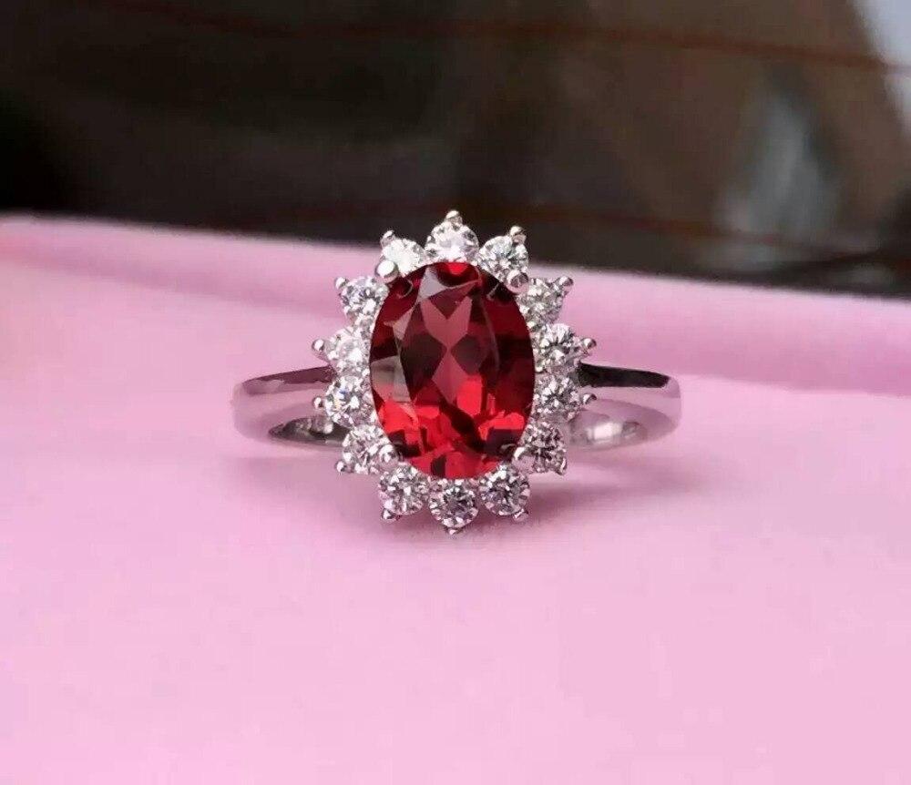 Natural red garnet gem Ring Natural gemstone ring 925 sterling ...