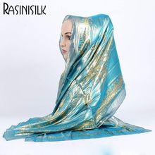 1pc Women Retro Hijab 100% Silk Jacquard Scarf Ladies Long Shawls Wraps Pashmina Islam Headband Bufandas Muslim Sjaal 55*165CM
