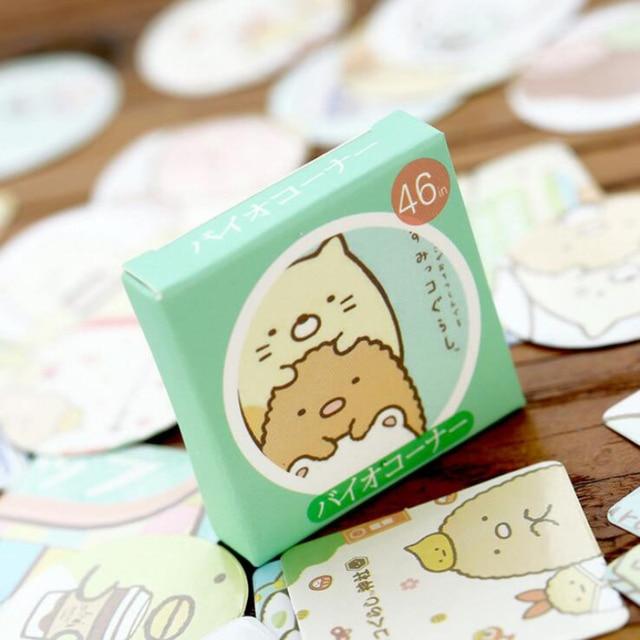 46pcs Kawaii Cartoon Bear Rabbit Cat Paper Japanese Baking Sticker