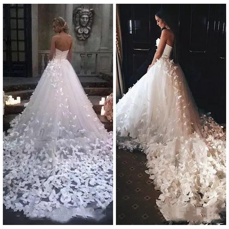 2019 Strapless A-Line Wedding Dresses Butterfly Long Train Bridal Gown Sexy Formal Tulle Vestidos De Mariee Custom European