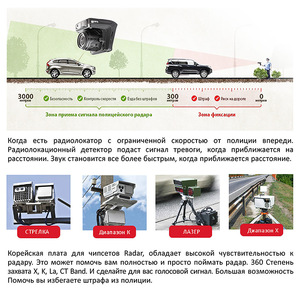 Image 4 - Ruccess Dash Camera DVR 3 in 1 Radar Detector with GPS for Russia Full HD 1080P 1296P Dashcam 2 Camera Video Recorder for Car