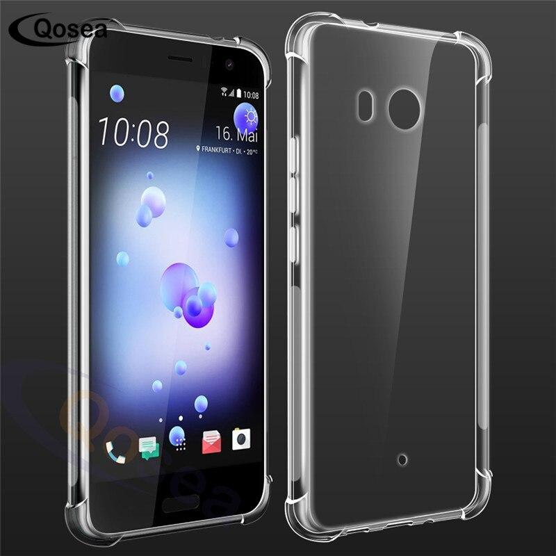Qosea для HTC U11 случае четырех углах взрывозащищенные Сельма Силиконовые ТПУ прозрачный тонкий телефон кожи для HTC U11 подушка безопасности задн...