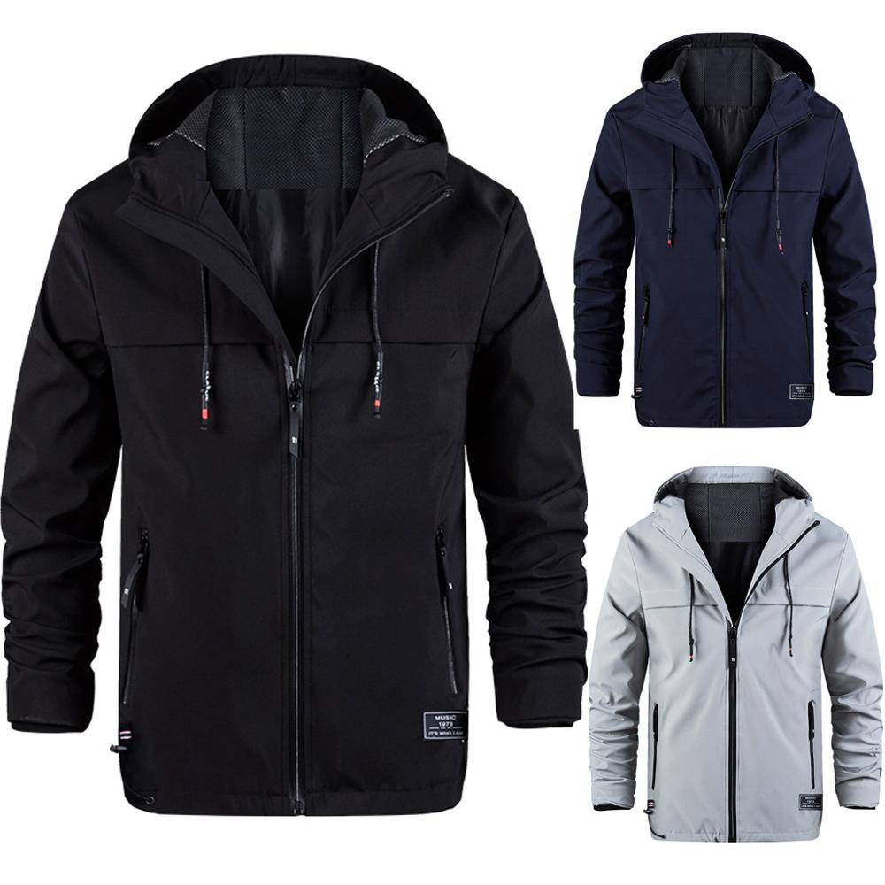 Mountaineering Jacket Hoodie Coat Hiking Winter Waterprrof Zipper Autumn Men J71 Patchwork
