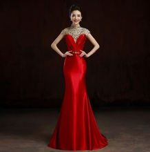 vestidos de festa 2019 Charming High Neck Beads Long Prom Dresses Elegnat Red Cap Sleeve Evening Party Gowns robe soriee