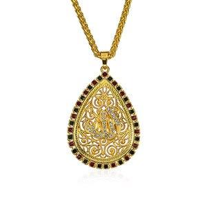 Ближний Восток стиль Арабский Мусульманский Исламский религиозный этнический 75*45 мм цветной горный хрусталь Золотой цвет тотем Бог кулон о...
