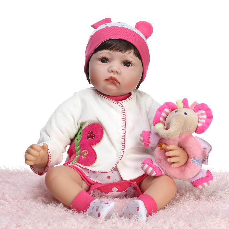 """ФОТО 21"""" realistic baby doll girls boneca baby doll boutique birthday gift doll set with pink soft baby clothes"""