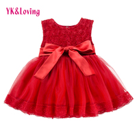 Lace Red Girls Dress Rose Tutu Dress For Wedding Clothes With Bow Knot Infant Girls Clothes