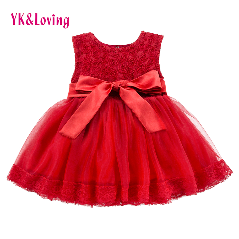 Lace Red Girls Dress Rose Tutu Dress for Wedding Clothes with Bow Knot Infant Girls Clothes White/Light Pink Baby Clothing 2018 baby girl 1st birthday outfits short sleeve infant clothing sets lace romper dress headband shoe toddler tutu set baby s clothes