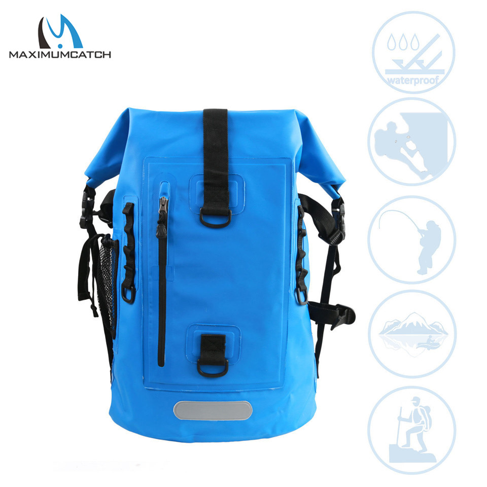 Maximumcatch High Quality Dry Backpack Waterproof Fishing Bag Ultra-durable 500D PVC Watershed Fly Fishing Bag with Tube Holders