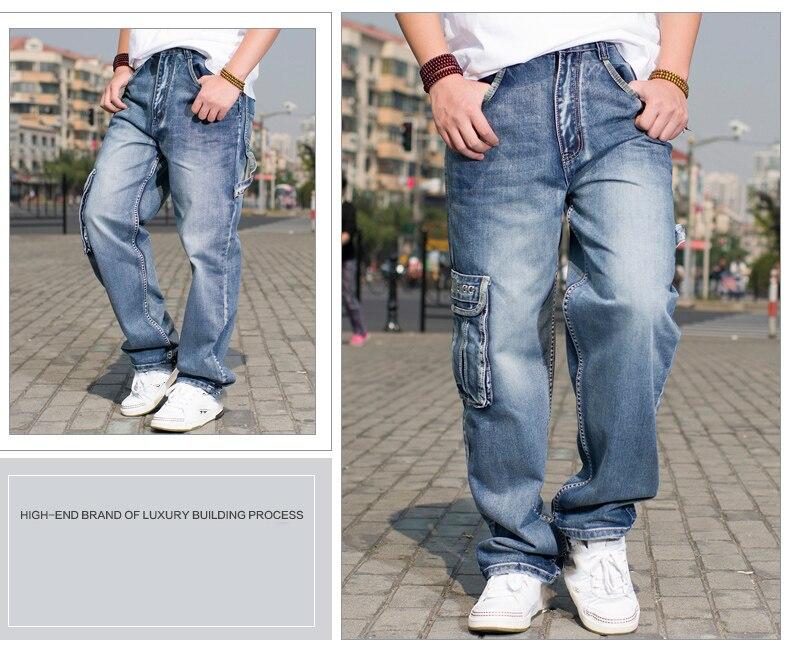 426f0c94 Multi Cargo Big Pocket Wide Leg Loose Jeans For Men Hip Hop Baggy Jeans  Homme Men\\\`s Denim Harem Trousers Plus Size 42 44 46
