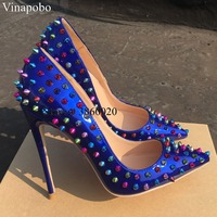 Sexy multi colored heels Shoes Pointed Toe Women Pumps Rivet Studded For Wedding Party Dress Shoes Stiletto Heel 12CM Size 43