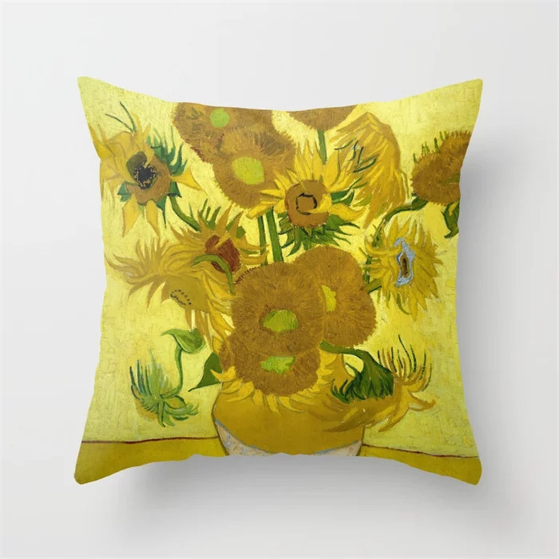 Van Gogh Decoration Cushion Covers 45x45cm Famous Oil Painting Plant Polyester Sofa Decorative Throw Pillow Cover Cases in Cushion Cover from Home Garden