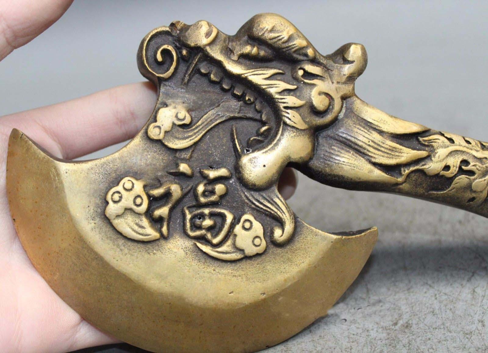 6 Китайское Латунное оружие ружьё ручка дракона топор топорик медная статуя топор - 3