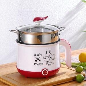 Image 3 - Мини рисоварка, 220 В, электрическая машина для приготовления пищи, в наличии один/два слоя, многофункциональная электрическая рисоварка с горячим горшком, ЕС/Великобритания/Австралия/США
