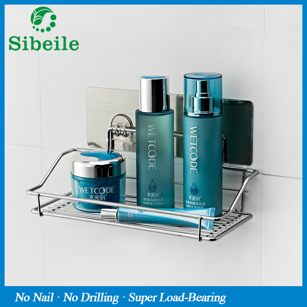 SBLE Stainless Steel Bathroom Shelf Strong Suction Dual Sucker ...