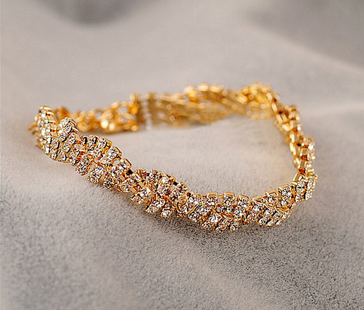 New Arrival Fashion Korean Style Gold / Silver Shining Rhinestone Braided Chain Bracelet For Gift Jewelry