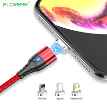 FLOVEME Magnetic USB Cable For iPhone XR XS MAX X 3A Fast Charging Lighting Type C Micro USB Cable For Samsung S9 Note 9(China)