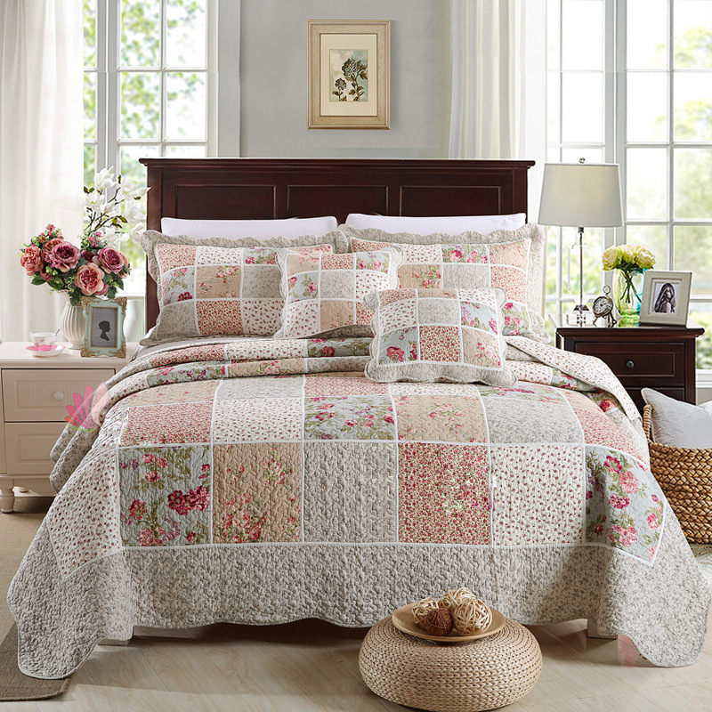 CHAUSUB Cotton Patchwork Quilt Set 3pcs 4pcs Korean Floral Bedspread Bed Cover Quilted Bedding Set Duvet
