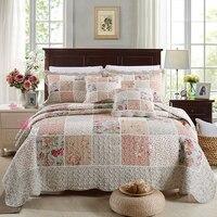 CHAUSUB Cotton Patchwork Quilt Set 3pcs/4pcs Korean Floral Bedspread Bed Cover Quilted Bedding Set Duvet Cover Pillowcase Quilts