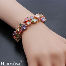 Hermosa Jewelry Tennis Bracelet Colorful 925 Sterling Silver Plated rose gold Bracelets 7 inch Adjustable QA04