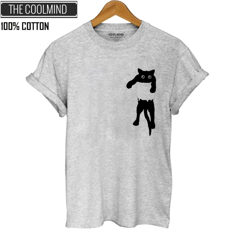 COOLMIND QI0232B 100% coton chat imprimé femmes t-shirt décontracté à manches courtes T-shirt femme o-cou lâche femmes T-shirts hauts tee shirt