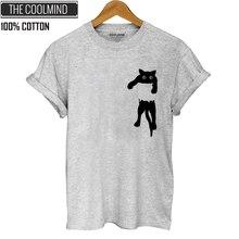COOLMIND QI0232B Хлопковая женская футболка с принтом кота, Повседневная футболка с коротким рукавом, Женская свободная футболка с круглым вырезом, топы, футболки