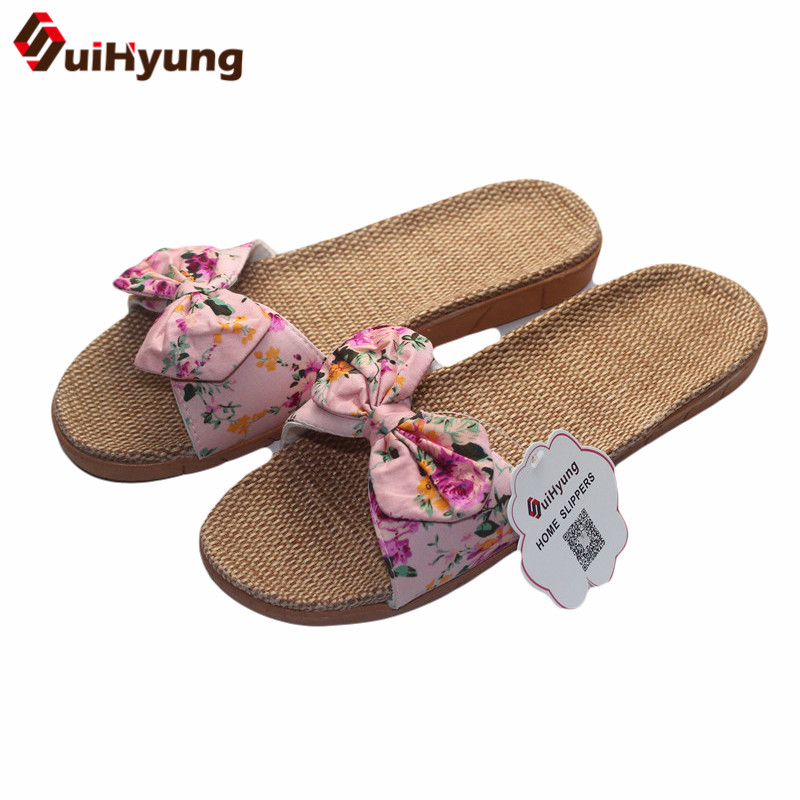 Suihyung Women Flax Slippers Summer Casual Slides Beach Shoes Ladies Indoor Linen Slippers Bohemia Floral Bow Flip Flops Sandals