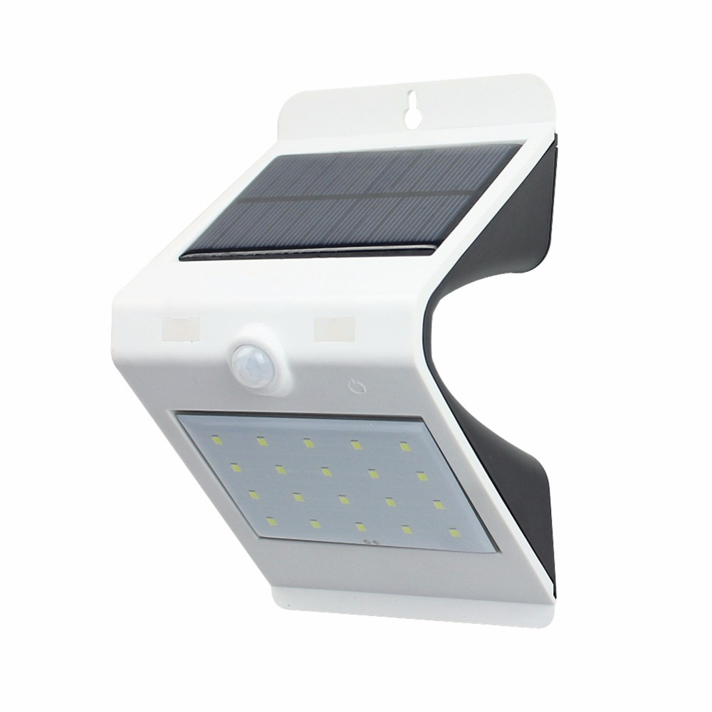 24pcs/lot Lampara Solar Powered Led Wall Lights with Motion Sensor Lamp 20+4 Leds IP65 Waterproof Solar Garden Light Led Outdoor