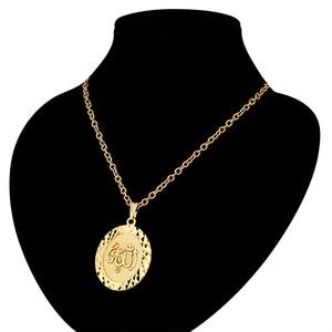 """Image 3 - Colliers avec pendentifs ronds Punk Allah pour hommes et femmes, Vintage religieux, chaîne Figaro couleur or, 19 """", 22"""", vente en gros"""