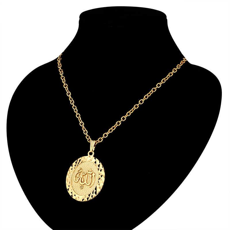 """Vintage religijne islamski wisiorek hurtowych mężczyzna kobiet złoty kolor łańcuch figaro 19 """"22"""" okrągłe punkowe Allah wisiorek naszyjniki"""