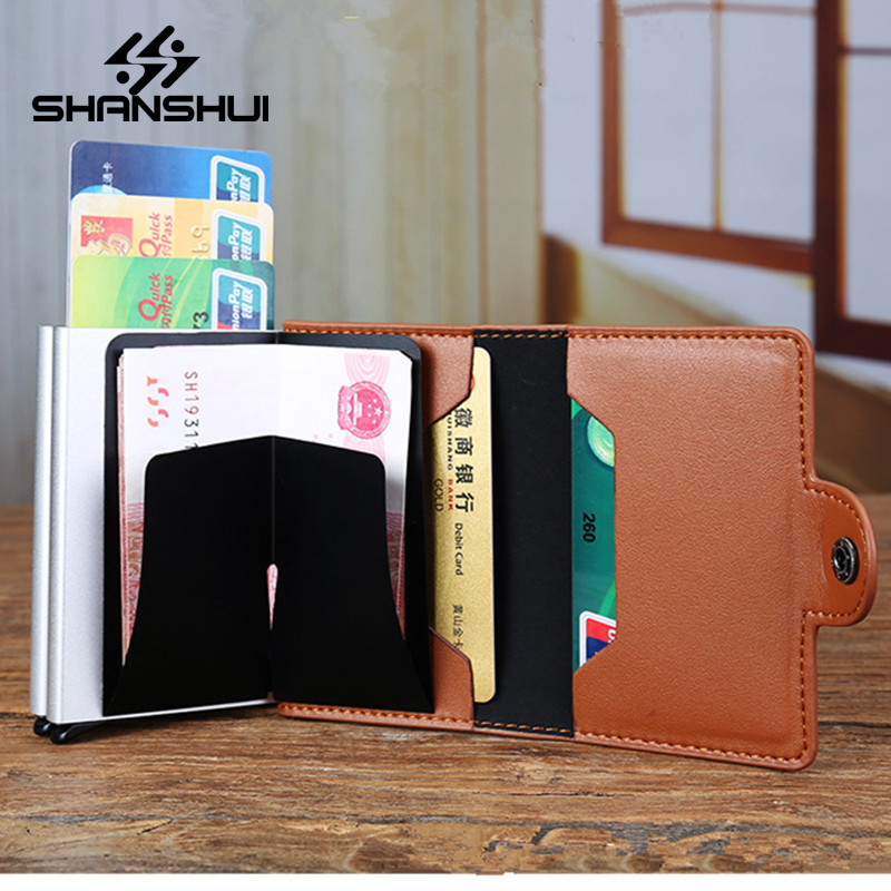 Leather Automatic Credit Card Holder Men High Quality Aluminum Business Paperwork Credit Card Multi-function Card Holder Wallet women men business name superior quality id credit card candy color protector leather wallet card holder package box a dropship