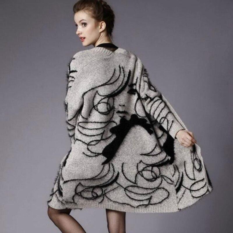 Красивый образ вышивка мохер вязаный кардиган куртка с длинными рукавами женские свитера мультфильм куртка вязаная ветровка уличная