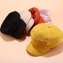 แฟชั่นฤดูหนาวและฤดูใบไม้ร่วงสุภาพสตรีหมวกผู้หญิงหมวก Corduroy หมวกยุโรปและอเมริกา Retro FLAT TOP สบายๆหมวกแปดเหลี่ยม z51