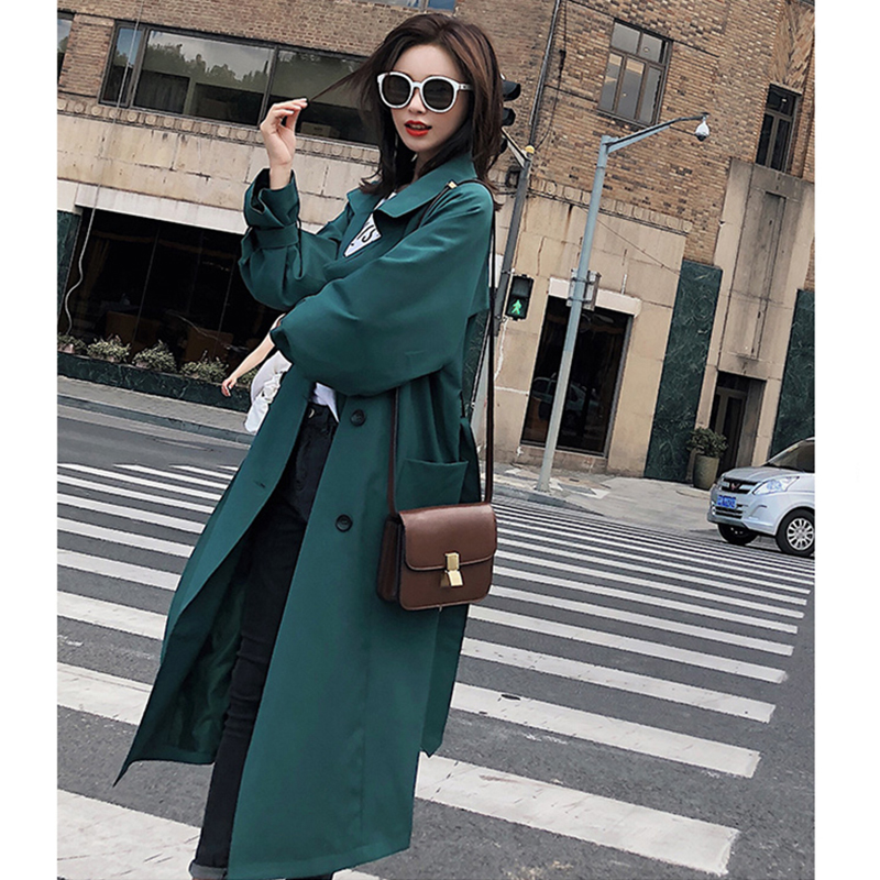 2018 Vrouwen Solid Green Medium Lange Geul Met Riem Vrouwelijke Double Breasted Losse Jas Lichtgewicht Volledige Mouw Mode Streetwear-in Loopgraaf van Dames Kleding op  Groep 3