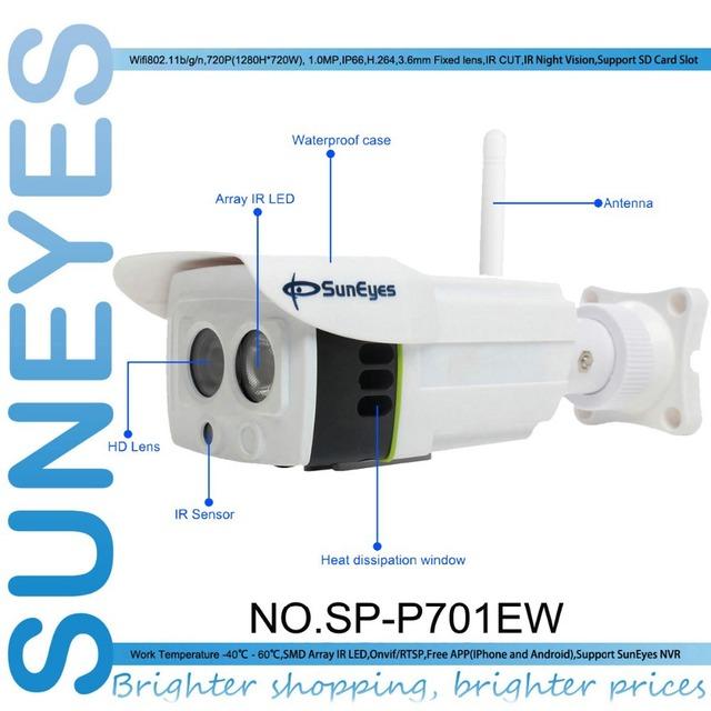 Sp-p701ew suneyes onvif cámara ip inalámbrica al aire libre 720 p impermeabilizan ip66 red wifi hd cámara cctv p2p con ranura sd micro