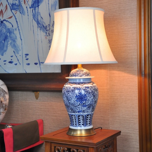 Vintage chinese porcelain ceramic table lamp bedroom living room vintage chinese porcelain ceramic table lamp bedroom living room wedding table lamp jingdezhen blue ceramic table aloadofball Choice Image