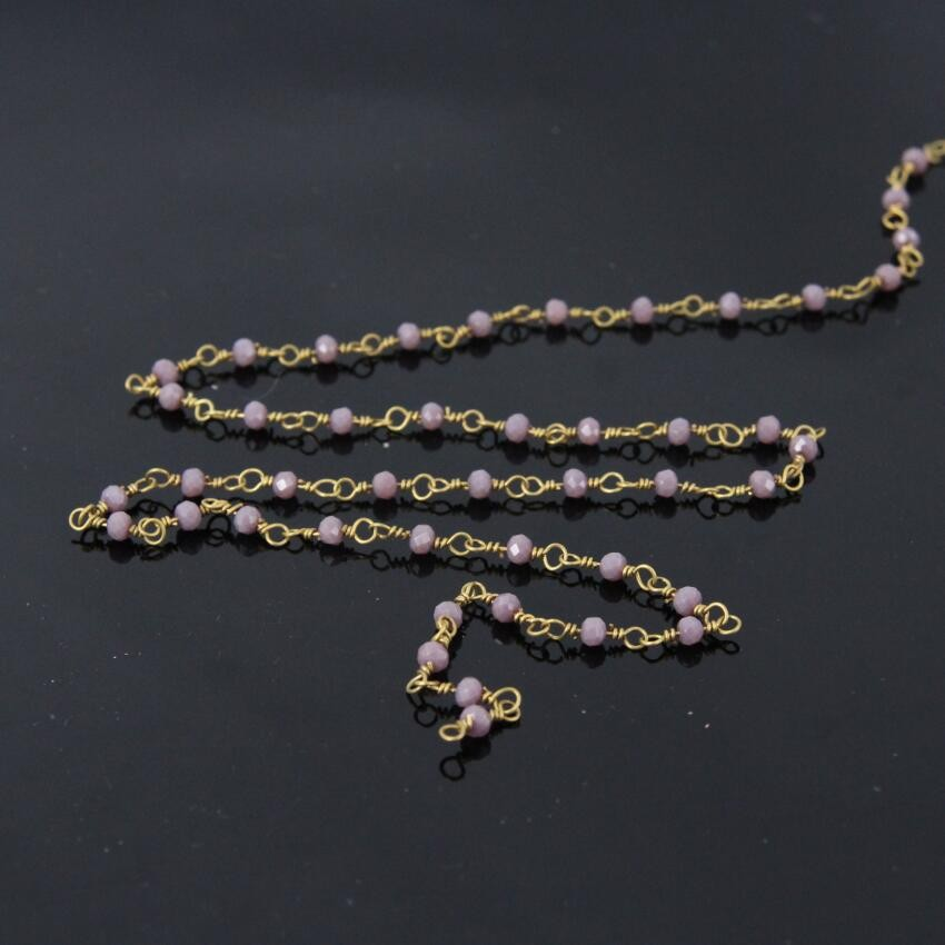 5.50-6 mm 5BGI259 Amethyst Smooth Wire Wrapped Rosary Chain Amethyst Smooth Rosary Beaded Chain