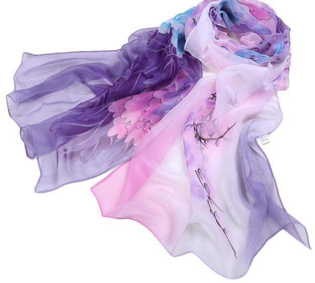 2019 Shawl Women Ladies Chiffon Purple Floral Pattern Scarf Soft Wrap Long Shawl Warm And Light Scarf L308