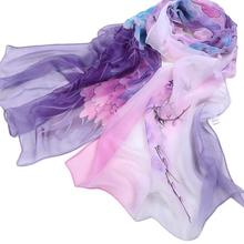 2019 Shawl Women Ladies Chiffon Purple Floral Pattern Scarf Soft Wrap