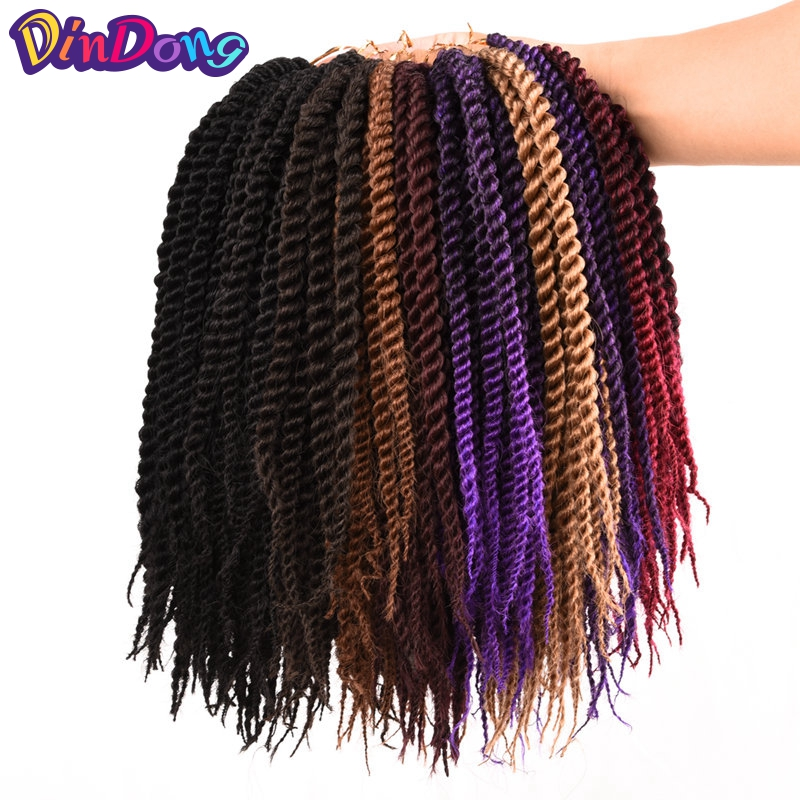 DinDong Twist Crochet Extensions Hair Kanekalon Senegalese Crochet Braids 10 Colors Fibe ...