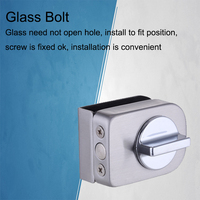 Glas Tür Verriegelungen Lock/bolzen  edelstahl  Ohne bohren  Einfache installation für Doppel Tür  bad Rahmenlose Glas Tür