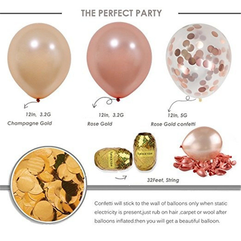 10pcs Rose Gold Latex Balloon Champagne Gold Confetti Balloons Baby Shower Favors for Wedding Decoration Birthday Party Supplies in Ballons Accessories from Home Garden